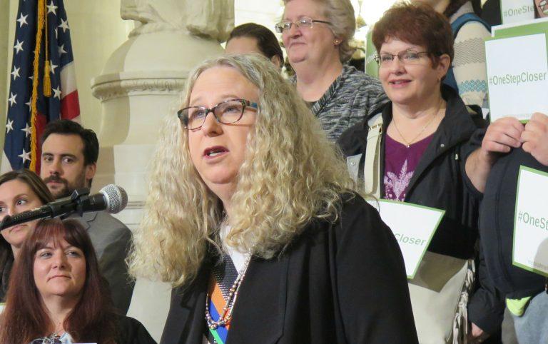 Dr. Rachel Levine, Pennsylvania Department of Health secretary, speaks with reporters. (Brett Sholtis/WITF)