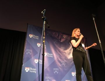 Registered nurse Jill Distefano speaks at a University of Pennsylvania Story Slam (Jad Sleiman/WHYY)