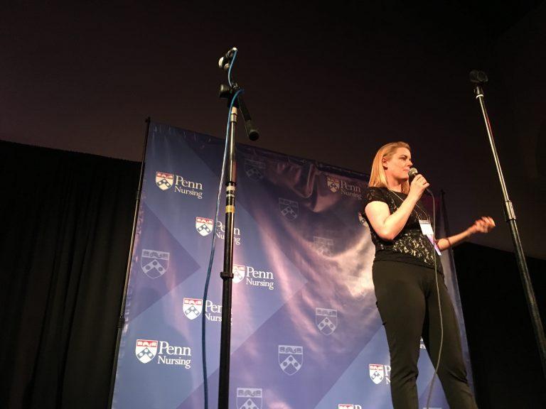 Registered nurse Jill Distefano speaks at a University of Pennsylvania Story Slam (Jad Sleiman/WHYY)