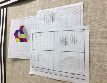 Sketches show the first step in the process of designing 3D puzzles. (Mark Eichmann/WHYY)
