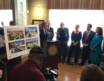 Delaware Gov. John Carney says the new train station in Claymont could be a boost for the town in much need of redevelopment. (Mark Eichmann/WHYY)