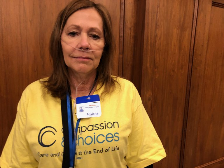 Laurie Wilcox, a retired nurse with rheumatoid arthritis, said her parents suffered through their final days and did not have the ability to end their lives peacefully with medication. (Joe Hernandez/WHYY)