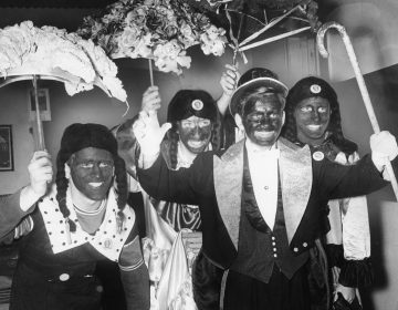 Members of the Hammond Comic Club in blackface, 2nd and Mifflin streets, January 3, 1964.