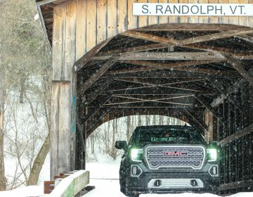 Author and family seeking refuge in a snow covered bridge in Vermont. (Photo Courtesy/Jeff Bogle)