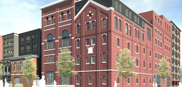 A rendering shows a redeveloped Gretz Brewery on Germantown Avenue. (Courtesy of T+ Associates)