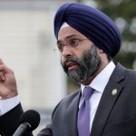 New Jersey Attorney General Gurbir Grewal speaks during a news conference, Wednesday, Aug. 1, 2018, in Newark, N.J. Grewal is among 16 state attorneys general suing the Trump administration over the president's declaration of a national emergency to secure funding for a border wall. (AP Photo/Julio Cortez)