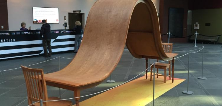 An abstract sculpture from the West Collection displayed at a temporary installation inside the Kimmel Center in 2016. (Courtesy of the Kimmel Center)