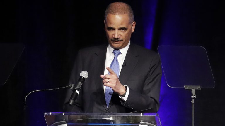 Former Attorney General Eric Holder speaks at the Peabody Hotel in Memphis, Tenn., in April 2018 (Mark Humphrey/AP)