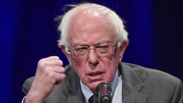 Sen. Bernie Sanders, I-Vt., speaks about his new book, 'Where We Go From Here: Two Years in the Resistance', at a George Washington University/Politics and Prose event in November 2018. He announced a second presidential campaign on Tuesday. (Alex Brandon/AP)