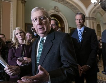 Senate Majority Leader Mitch McConnell, R-Ky., joined by fellow Republican senators, spoke about the Green New Deal Tuesday. (J. Scott Applewhite/AP Photo)