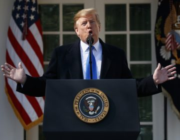 President Trump speaks in the Rose Garden at the White House on Friday to declare a national emergency in order to build a wall along the southern border. (Evan Vucci/AP Photo)