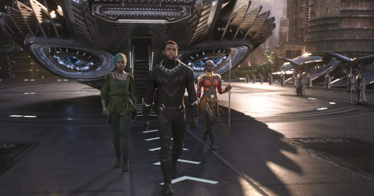 Nakia (Lupita Nyong'o), T'Challa (Chadwick Boseman) and Okoye (Danai Gurira) emerge from a Wakandan aircraft in Black Panther. (Marvel Studios)
