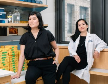 Their research is still in early stages, but Kristin Myers (left), a mechanical engineer, and Dr. Joy Vink, an OB-GYN, both at Columbia University, have already learned that cervical tissue is a more complicated mix of material than doctors ever realized. (Adrienne Grunwald for NPR)