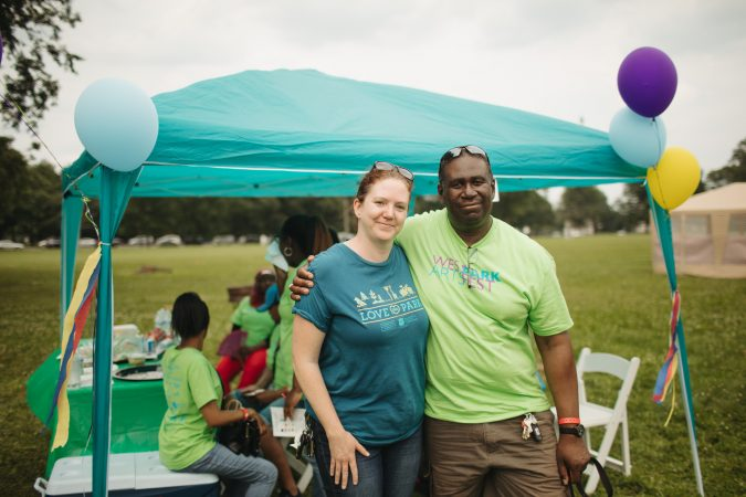Fairmount Park Conservancy's Jennifer Mahar and Michael Burch of East Parkside at West Park Arts Fest. (Neal Santos for PlanPhilly)