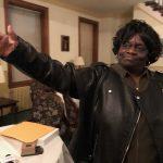 North Philadelphia ward leader Daphne Goggins celebrates after GOP ward leaders vote against reconsidering their endorsement of her candidacy for mayor. (Joe Hernandez/WHYY)