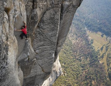 Alex Honnold's ascent of El Capitan in Yosemite National Park — without ropes or safety equipment — was the subject of the documentary film Free Solo. (Jimmy Chin/National Geographic)