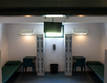 A bunk bed and desks are seen inside a cell at a Virginia detention center contracted by ICE. (Saul Loeb/AFP/Getty Images)