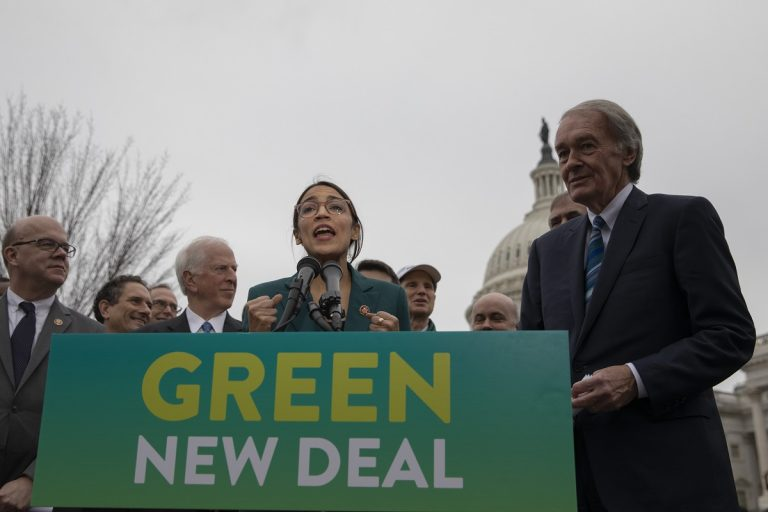 Representative Alexandria Ocasio-Cortez, Democrat of New York, speaks during a press conference to announce the
