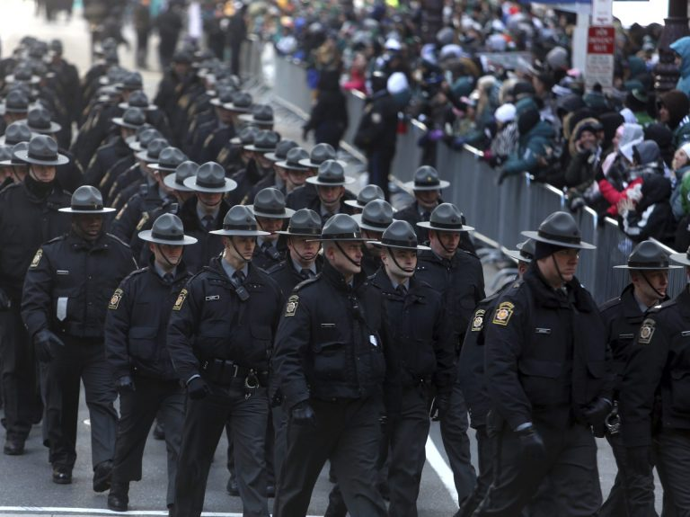 In this file photo, Pennsylvania State Police are seen in Philadelphia in  February 2018 (Jacqueline Larma/AP Photo)