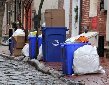 Recycling bins on Cuthbert Street in Philadelphia. (Emma Lee/WHYY)