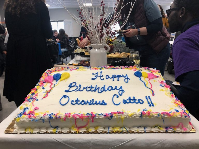 Cake was served at the Philly Transit Equity Day event in Center City to honor the 180th birthday of Octavius Catto. (Darryl Murphy/WHYY)