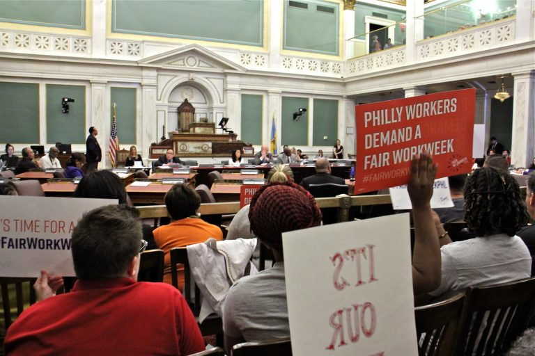 Supporters attend a hearing at City Hall on fair workweek legislation. (Emma Lee/WHYY)