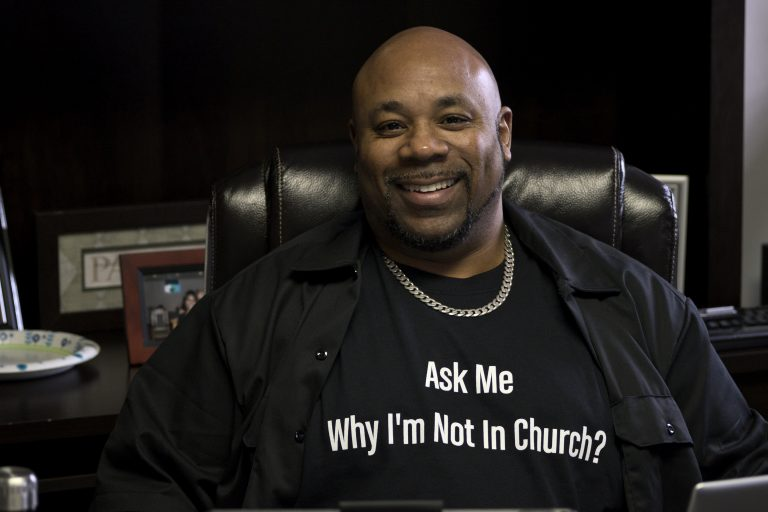 Pastor Rev. Larry L. Anderson, Jr. in his office at the Great Commission Church in Northwest Philadelphia on Jan. 29. (Bastiaan Slabbers for WHYY)