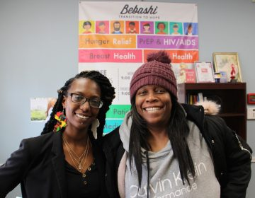 Bebashi Prevention Navigator Keisha Gabbidon (left) helped Tamika Warren (right) protect herself against AIDS with PrEP, a medication typically only offered to gay men. (Emma Lee/WHYY)