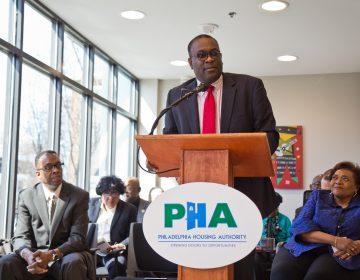 Philadelphia Housing Authority president Kelvin Jeremiah spoke at the opening of the Sharswood Tower. (Kimberly Paynter/WHYY)
