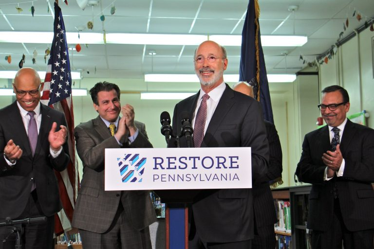 Gov. Tom Wolf visits Taggart Elementary School in South Philadelphia to stump for legislation that would tax natural gas extraction to pay for school improvements. (Emma Lee/WHYY)