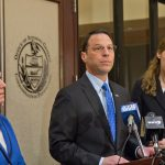 Pennsylvania Attorney General Josh Shapiro announces charges against Liberation Way, an addiction treatment center, and other involved parties with fraud and conspiracy. (Kimberly Paynter/WHYY)