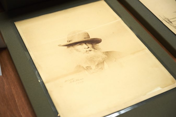 The Whitman at 200 pop-up exhibition includes early drawings and photographs of Walt Whitman. (Natalie Piserchio for WHYY)