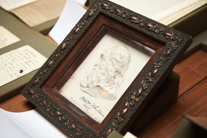 The Whitman at 200 Symposium pop-up exhibition includes early drawings, photographs, and scupltures of Walt Whitman. (Natalie Piserchio for WHYY)