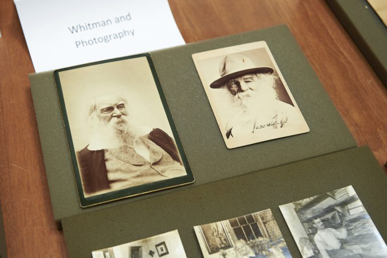 The Whitman at 200 Symposium pop-up exhibition includes photographs of Walt Whitman. (Natalie Piserchio for WHYY)