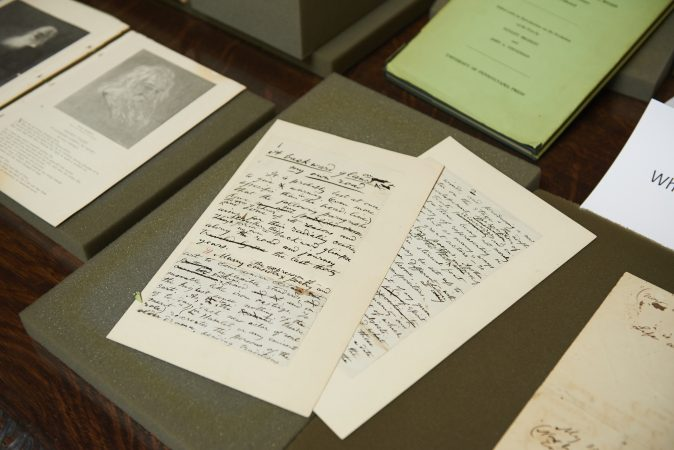 The Whitman at 200 Symposium pop-up exhibition includes books, early writings, and manuscripts. (Natalie Piserchio for WHYY)