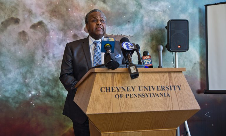 Cheyney University President Aaron Walton describes the school's plan to secure solvency and accreditaton. (Kimberly Paynter/WHYY)