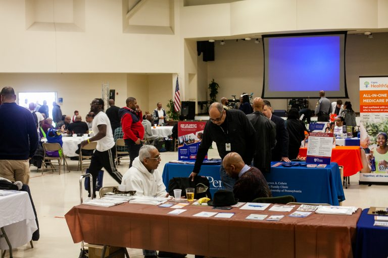 Hundreds of men attend the 2019 Men's Health Initiative at the Enon Tabernacle Baptist Church Saturday in Northwest Philadelphia. (Brad Larrison for WHYY)