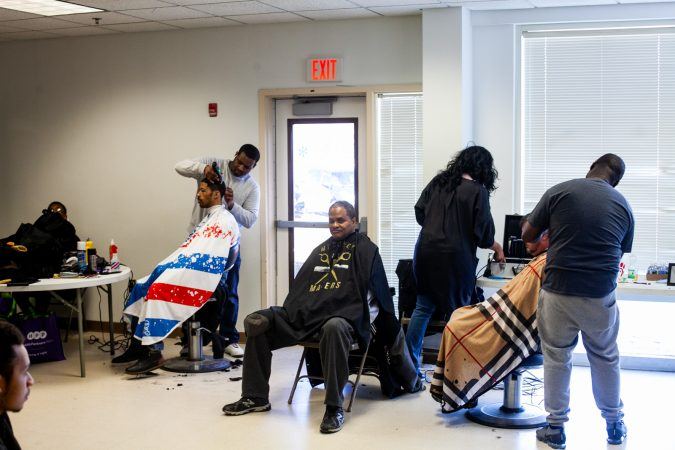 Barber services were offered at the Enon Tablernacle Baptist Church's 2019 Men's Health Initiative Saturday. (Brad Larrison for WHYY)