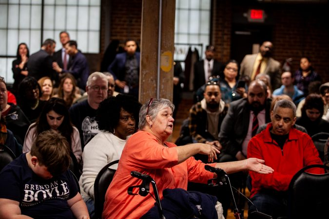 Kensington resident Donna Aument voiced her opposition to a proposed supervised injection site at a meeting to update residents on the ongoing Philadelphia Resilience Project's efforts in combating the opioid epidemic. (Brad Larrison for WHYY)