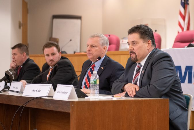 Republican candidates for county commissioner took part in a debate hosted by the Montgomery County Republican Committee held at the Upper Merion Township Building in King of Prussia, Pa. on Thursday, February 28, 2019. (Kriston Jae Bethel for WHYY)