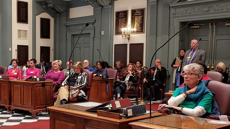Dozens of abortion rights advocates and abortion opponents gathered in Dover, Del. to debate legislation aiming to ban late-term abortions. (Zoe Read/WHYY)