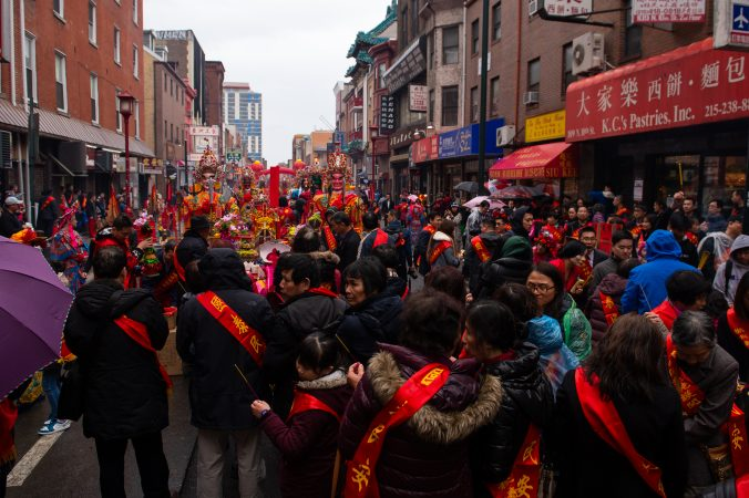 Attendees of the annual Hoyu Folk Culture Festival in Chinatown on Sunday, March 31, 2019. (Kriston Jae Bethel for WHYY)