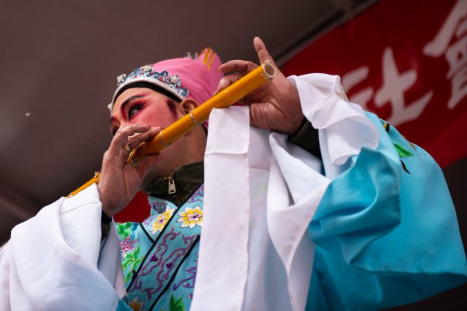 An actor performs in a traditional Chinese opera during the Hoyu Folk Culture Festival in Chinatown on Sunday, March 31, 2019. (Kriston Jae Bethel for WHYY)