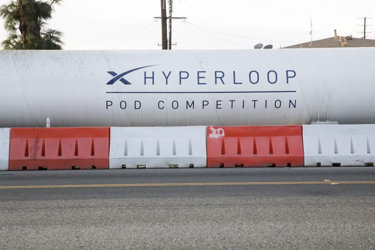 A logo sign on a Hyperloop test track outside of the headquarters of Space Exploration Technologies Corp., also known as SpaceX, in Hawthorne, California, on December 10, 2017. (Kristoffer Tripplaar/Sipa USA via AP Images)