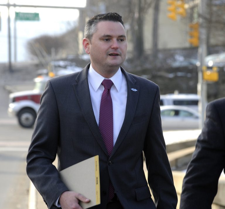 Pennsylvania State Representative Nick Miccarelli arrives for a protection-from-abuse (PFA) hearing, Thursday, March 15, 2018, at the Luzerne County Courthouse, in Wilkes-Barre, Pa. The PFA was filed against Miccarelli by Pennsylvania State Representative Tarah Toohil. Toohil was granted a three-year protective order against Miccarelli, Thursday. (Mark Moran/The Citizens' Voice via AP)