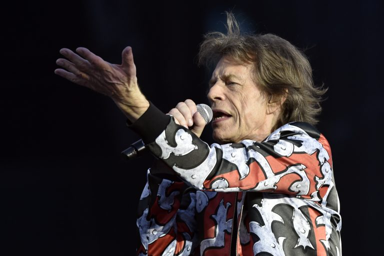 Mick Jagger of the Rolling Stones performs on stage during the concert of his band in Prague, Czech Republic, July 4, 2018 within their No Filter tour on a stage that is 32 metres high and nearly 80 metres long. (Vit Simanek /CTK via AP Images)