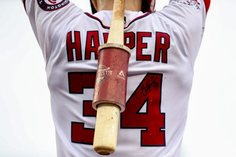 Bryce Harper has been signed to the Philadelphia Phillies. In this file photo, Harper warms up in the batters box during a baseball game against the New York Mets at Nationals Park, Sunday, Sept. 23, 2018, in Washington. (Andrew Harnik/AP Photo)