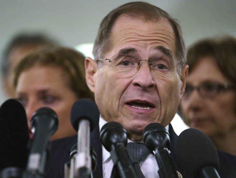 House Judiciary Committee ranking member Jerry Nadler, D-N.Y., talks to media during a Senate Judiciary Committee hearing on Capitol Hill in Washington, Friday, Sept. 28, 2018. (Carolyn Kaster/AP Photo)