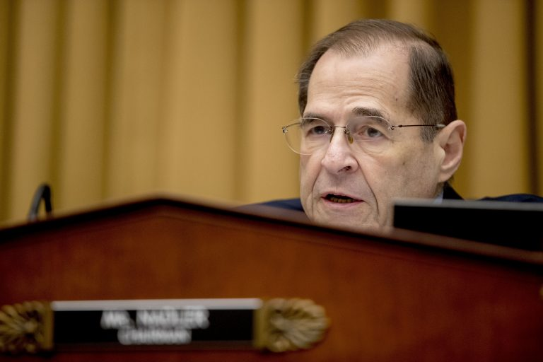 Judiciary Committee Chairman Jerrold Nadler, D-N.Y., questions Acting Attorney General Matthew Whitaker as he appears before the House Judiciary Committee on Capitol Hill, Friday, Feb. 8, 2019, in Washington. Democrats are eager to press him on his interactions with President Donald Trump and his oversight of the special counsel's Russia investigation. (Andrew Harnik/AP Photo)