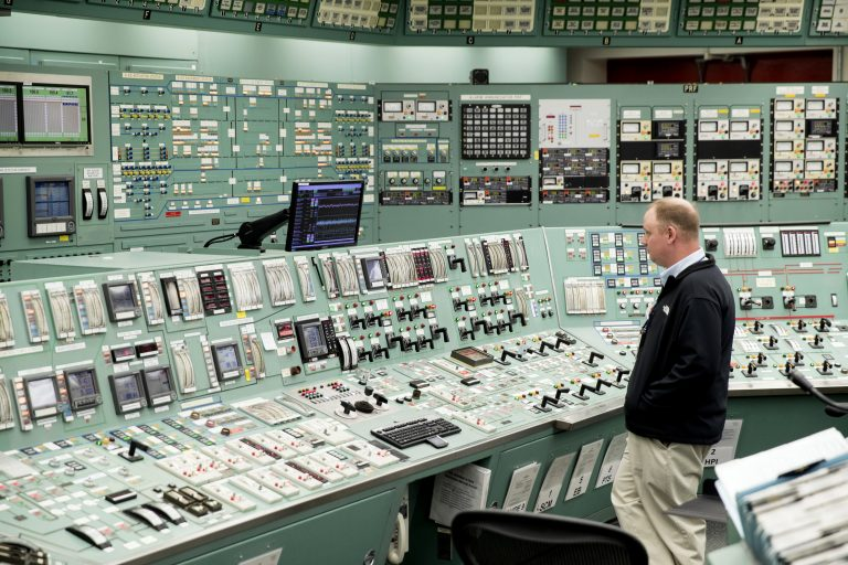 In this May 22, 2017, file photo shows the control room at the Three Mile Island nuclear power plant in Middletown, Pa. Forty years after Three Mile Island became synonymous with America's worst commercial nuclear power accident, the prospect of bailing out nuclear power plants is stirring debate at the highest levels of Pennsylvania and the federal government. (Matt Rourke/AP Photo)